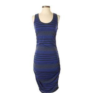Gray Blue Striped Ruched Midi Converse Dress M EUC